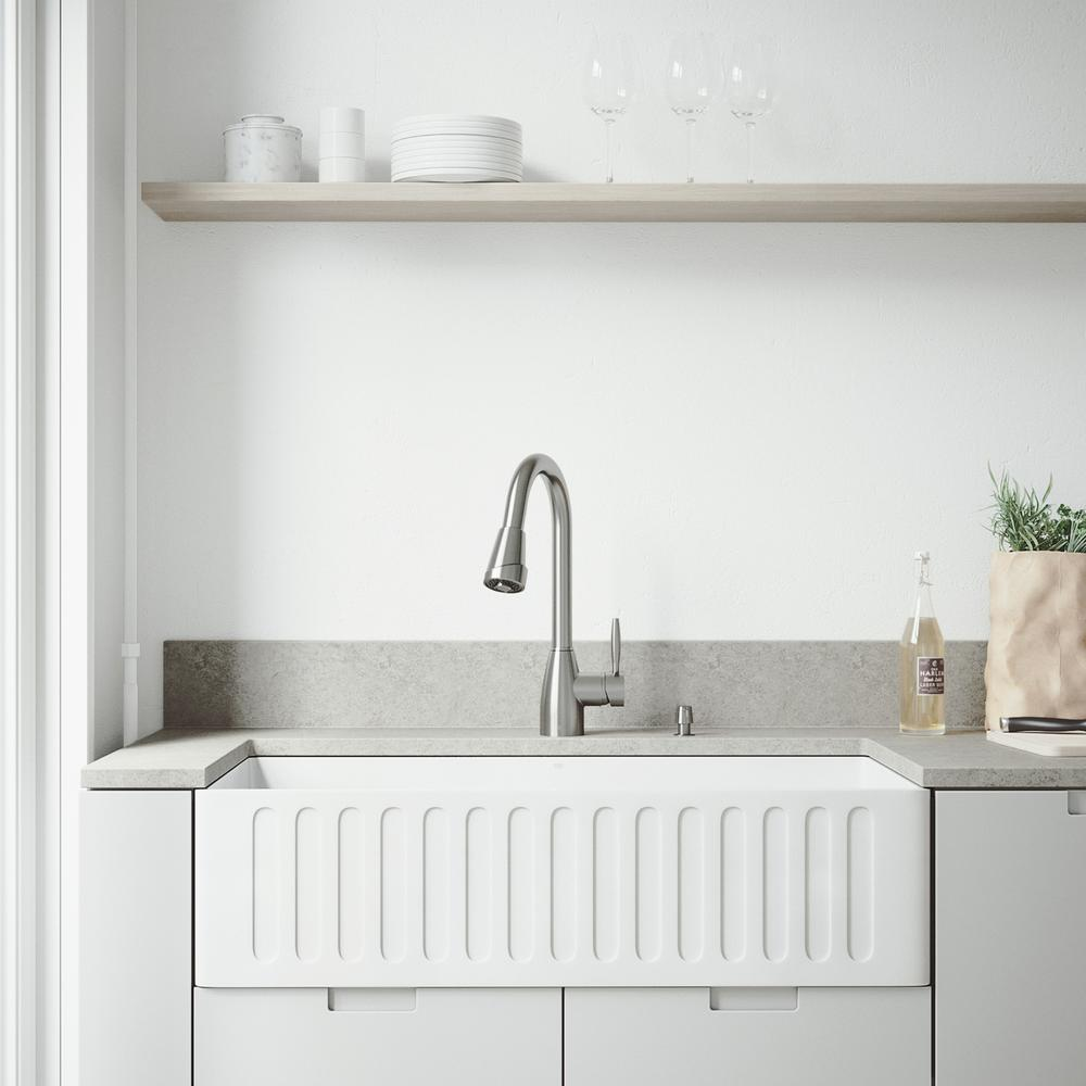 Vigo Matte Stone Farmhouse Kitchen Sink