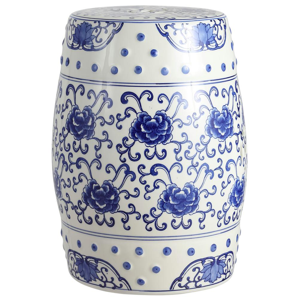 Stupendous Jonathan Y 17 8 In Blue White Lotus Flower Chinoiserie Ceramic Drum Garden Stool Caraccident5 Cool Chair Designs And Ideas Caraccident5Info