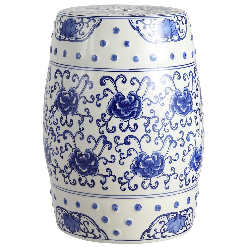 17.8 in. Blue/White Lotus Flower Chinoiserie Ceramic Drum Garden Stool