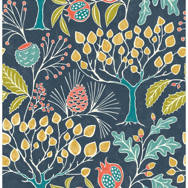 Nuwallpaper Groovy Garden Navy Peel Stick Vinyl Strippable Roll Covers 30 75 Sq Ft Nu3038 The Home Depot