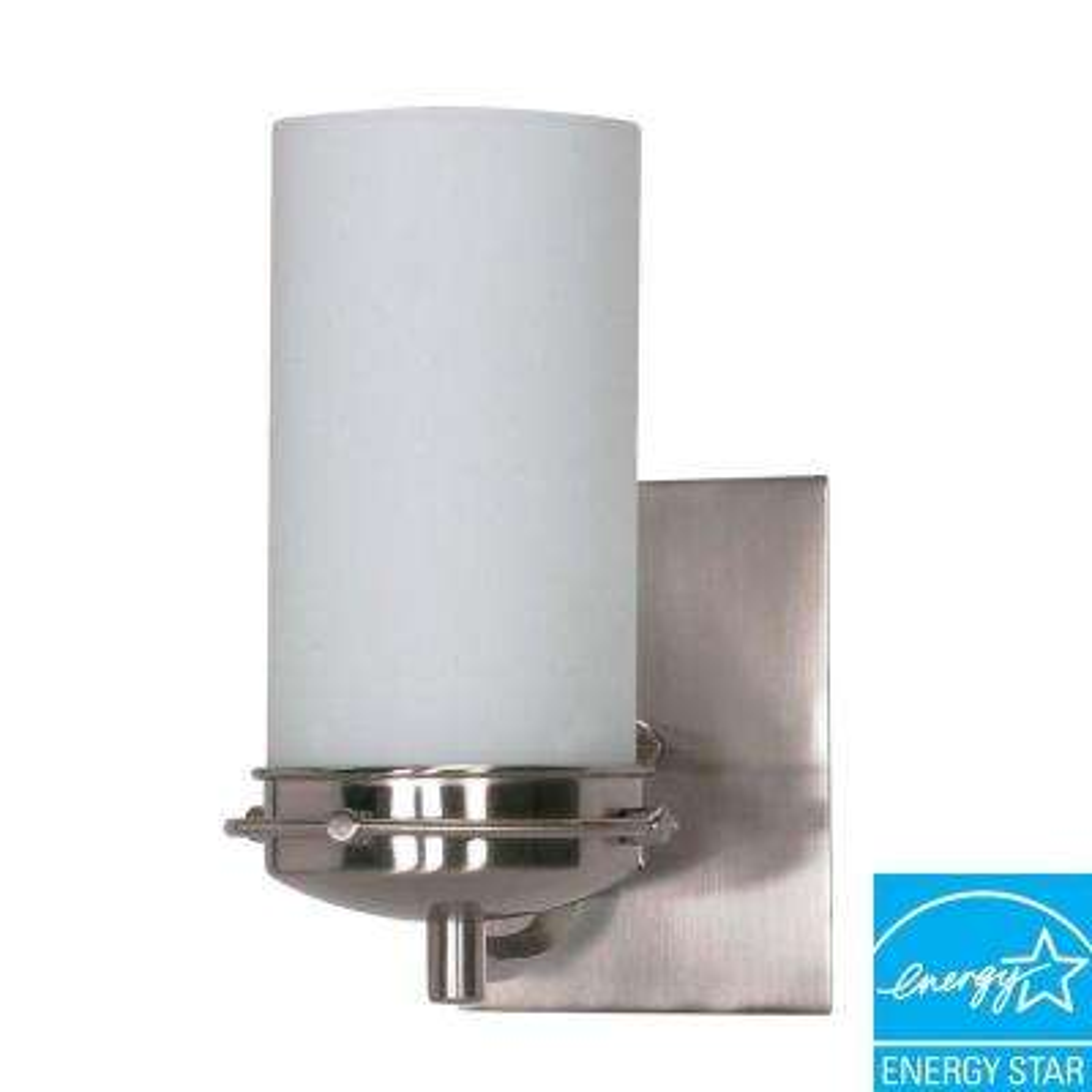 Nestra 1-Light Brushed Nickel Bath Vanity Light