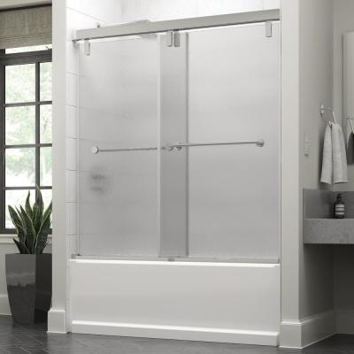 Everly 60 in. x 59-1/4 in. Mod Semi-Frameless Sliding Bathtub Door in Chrome and 3/8 in. (10mm) Rain Glass