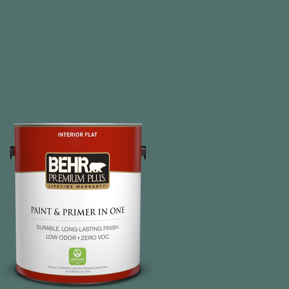 1 gal. #480F-6 Shaded Spruce Flat Zero VOC Interior Paint and