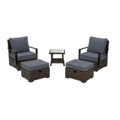 Whitfield 5-Piece Dark Brown Wicker Outdoor Patio Bistro Set with CushionGuard Sky Blue Cushions