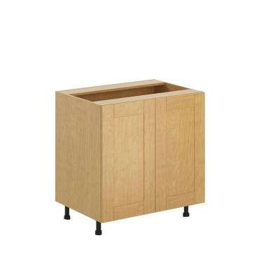 Ready to Assemble 33x34.5x24.5 in. Milano Full Height Base Cabinet in Maple Melamine and Door in Clear Varnish
