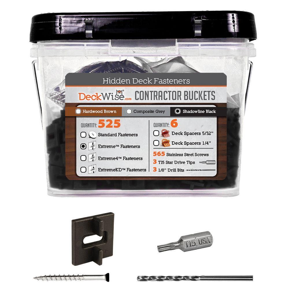Extreme Ipe Clip Black Biscuit Style Hidden Deck Fastener Kit for Hardwoods (525-Bucket)