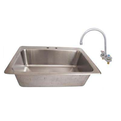 Deep Drawn Stainless Steel Drop-In Sink 28 in. x 16 in. x 10 in. Deep Bowl with Drain and 8 in. O.C. Deck Mount Faucet