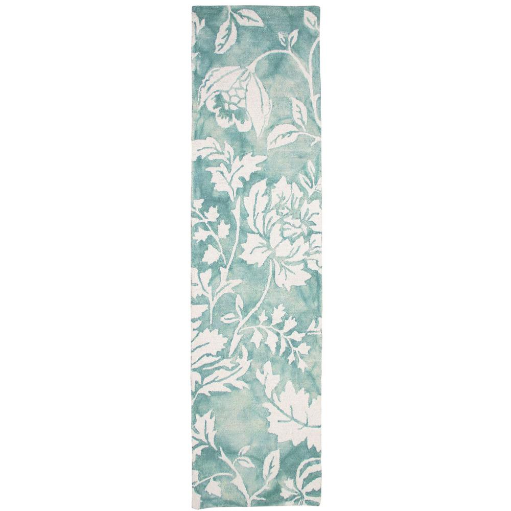 Art Carpet Antigua Tropical Floral Aqua 2 Ft. X 8 Ft