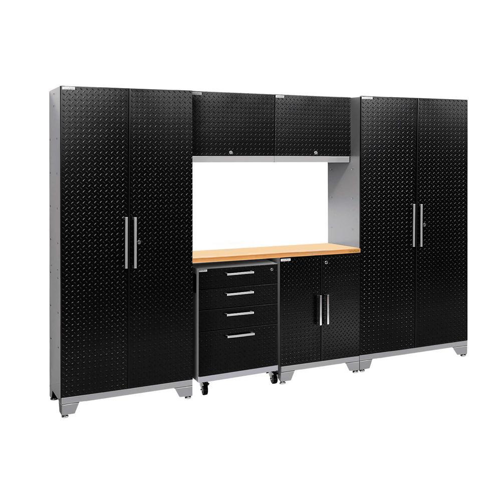 Performance 2.0 Diamond Plate 77.25 in. H x 108 in. W x 18 in. D Steel Bamboo Worktop Cabinet Set Black (7-Piece)