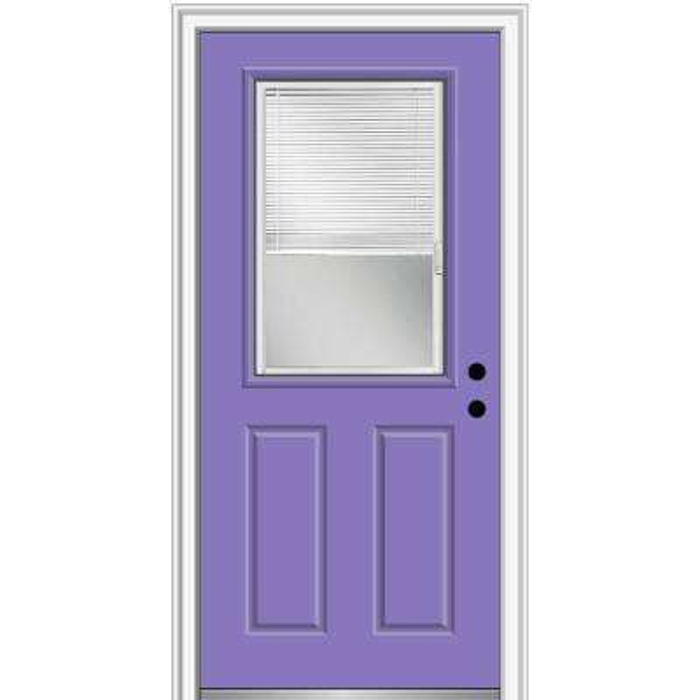 32 in. x 80 in. Internal Blinds Left-Hand Inswing 1/2-Lite Clear Painted Steel Prehung Front Door