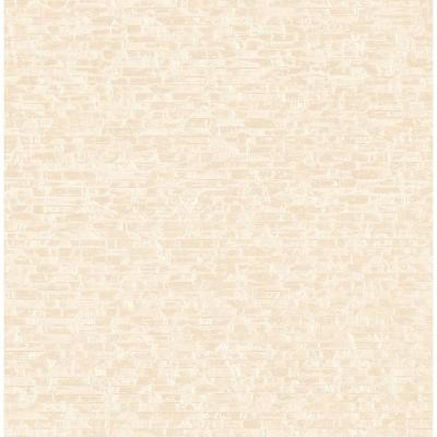 56.4 sq. ft. Belvedere Cream Faux Slate Wallpaper