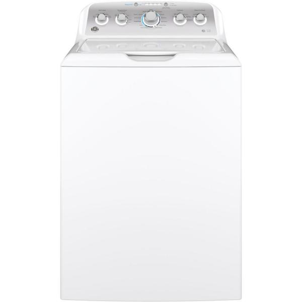 GE 4.6 cu. ft. High-Efficiency White Top Load Washing Machine with Stainless Steel Basket, ENERGY STAR