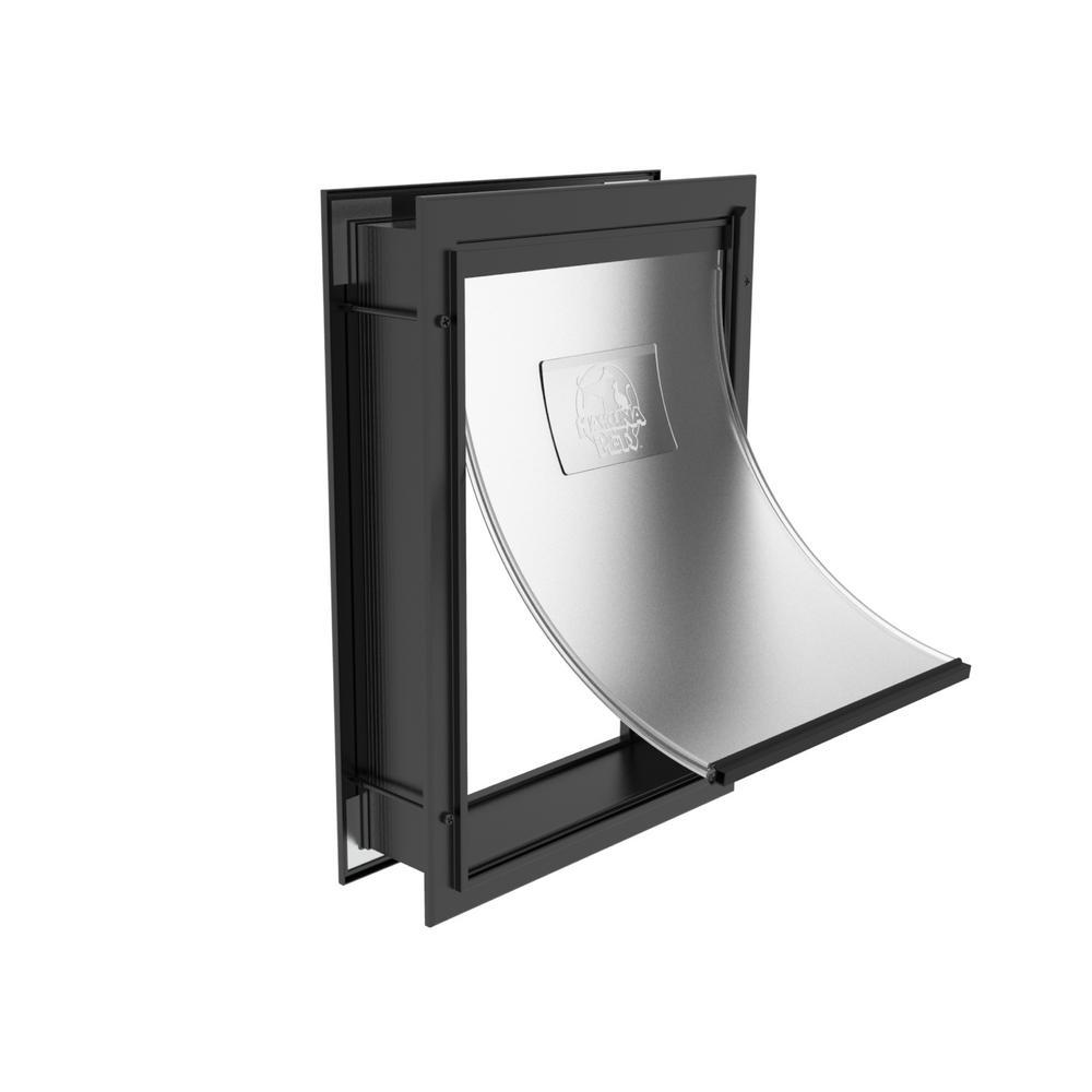 9.3 in x 7.2 in Deluxe Aluminum Small Pet Door Adjustable Tunnel in Black