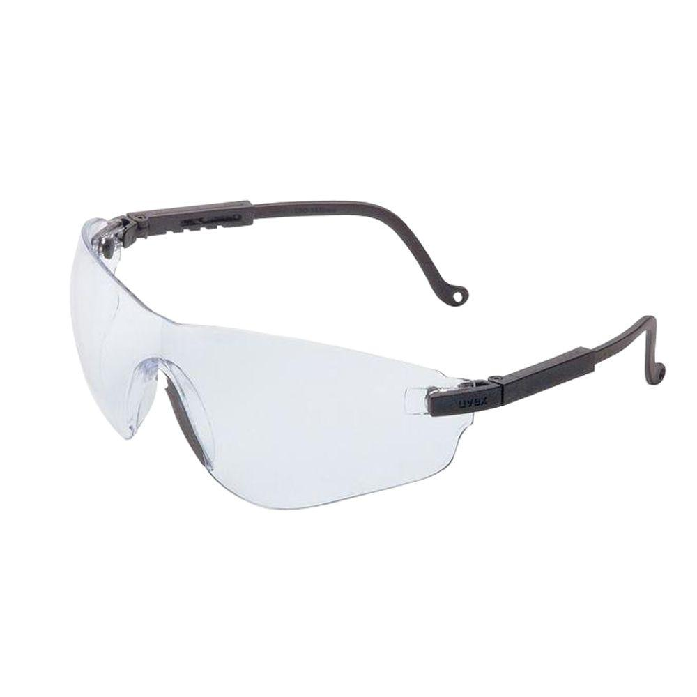 Uvex Falcon Safety Glasses with Clear Tint Uvextreme Lens and Black Frame