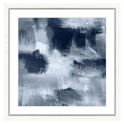 """""""Navy blue abstract II"""" Framed Archival Paper Wall Art (26 in. x 26 in. Full Size)"""