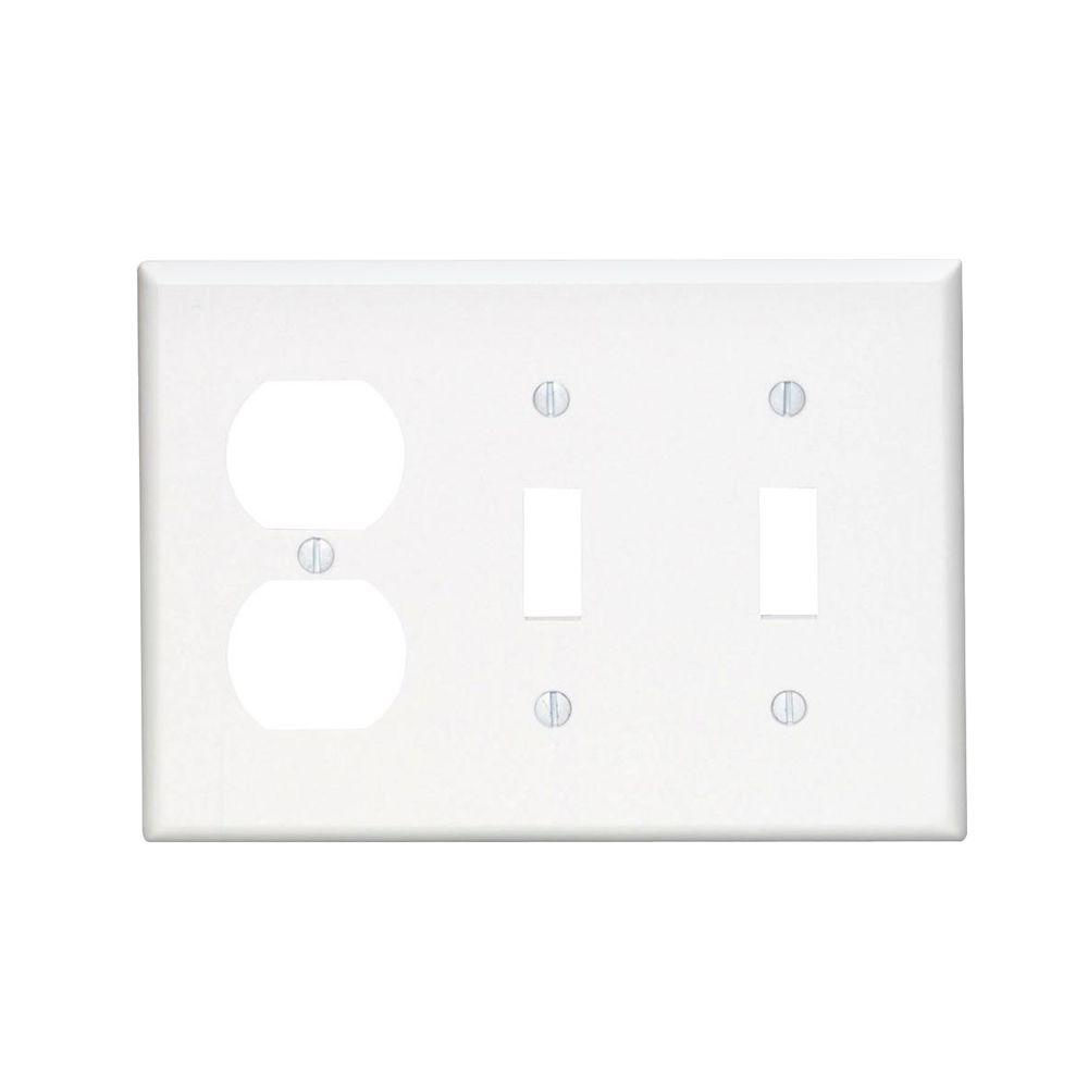 3 Gang Midway 2 Toggle 1 Duplex Combination Nylon Wall Plate White