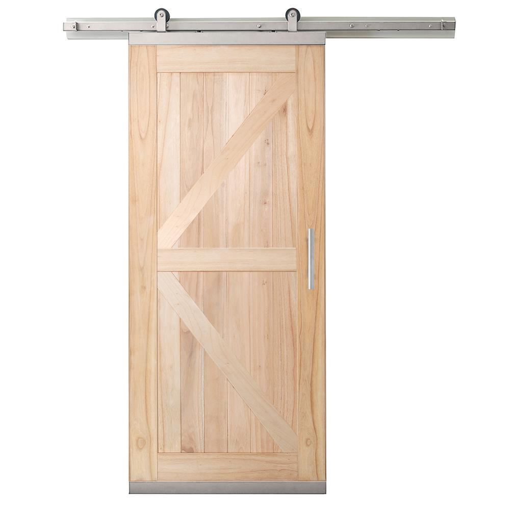 36 in. x 80 in. DesignGlide Farmhouse Unfinished Solid Wood 4-Panel Sliding Barn Door w/ Nickel Hardware Kit
