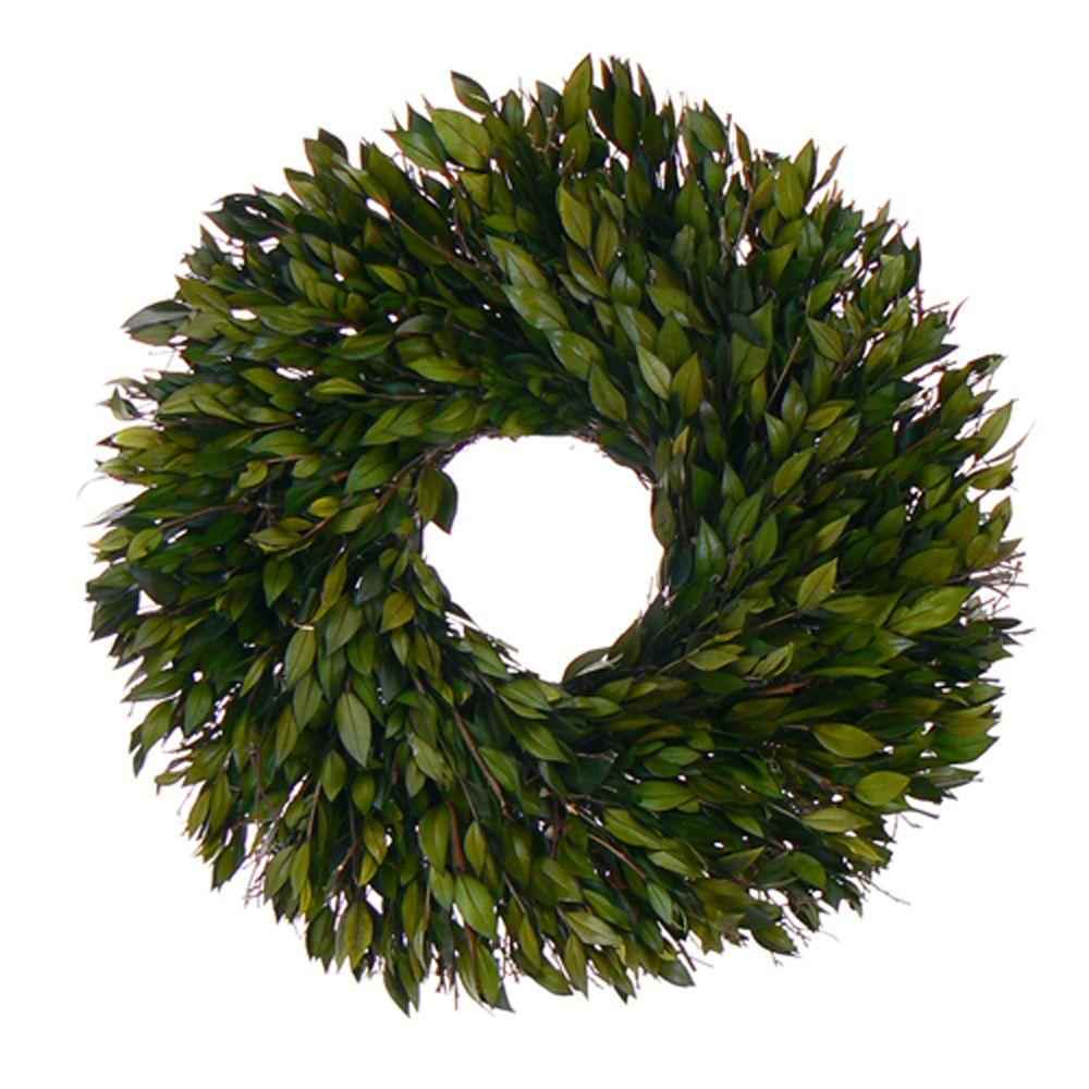 The Christmas Tree Company Evergreen Myrtle 18 in. Dried Floral Wreath