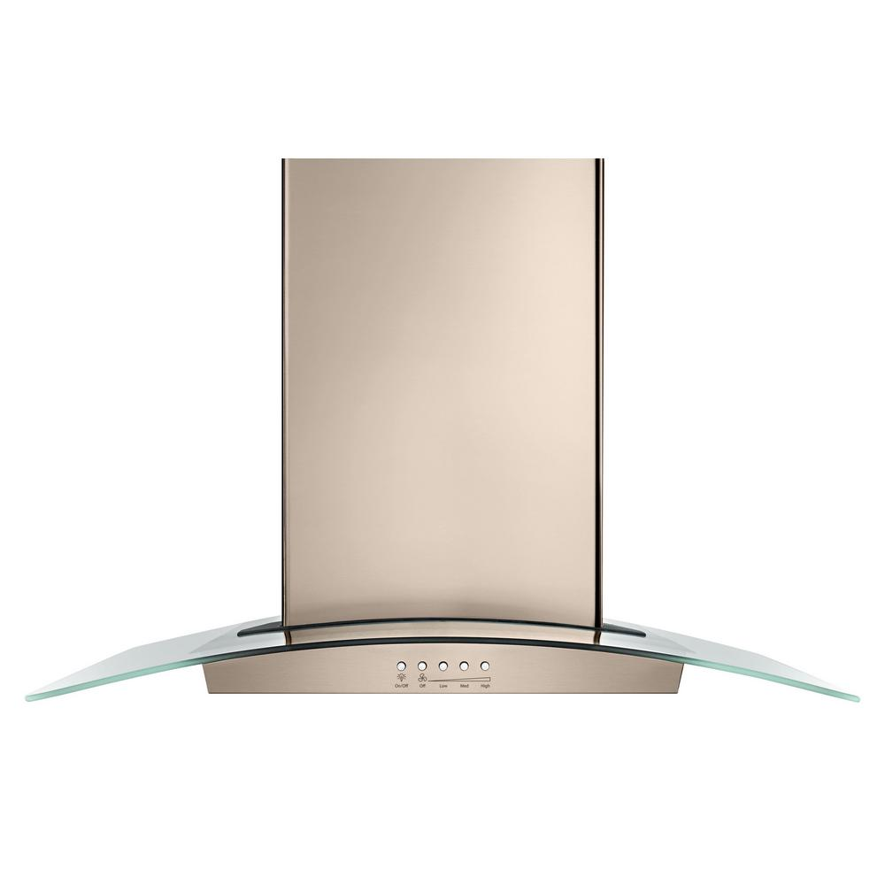 30 in. Modern Glass Wall Mount Range Hood in Sunset Bronze