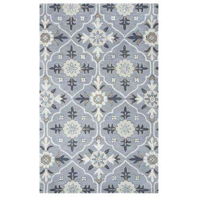 Valintino Blue Grey Hand Tufted Wool 8 ft. x 10 ft. Area Rug