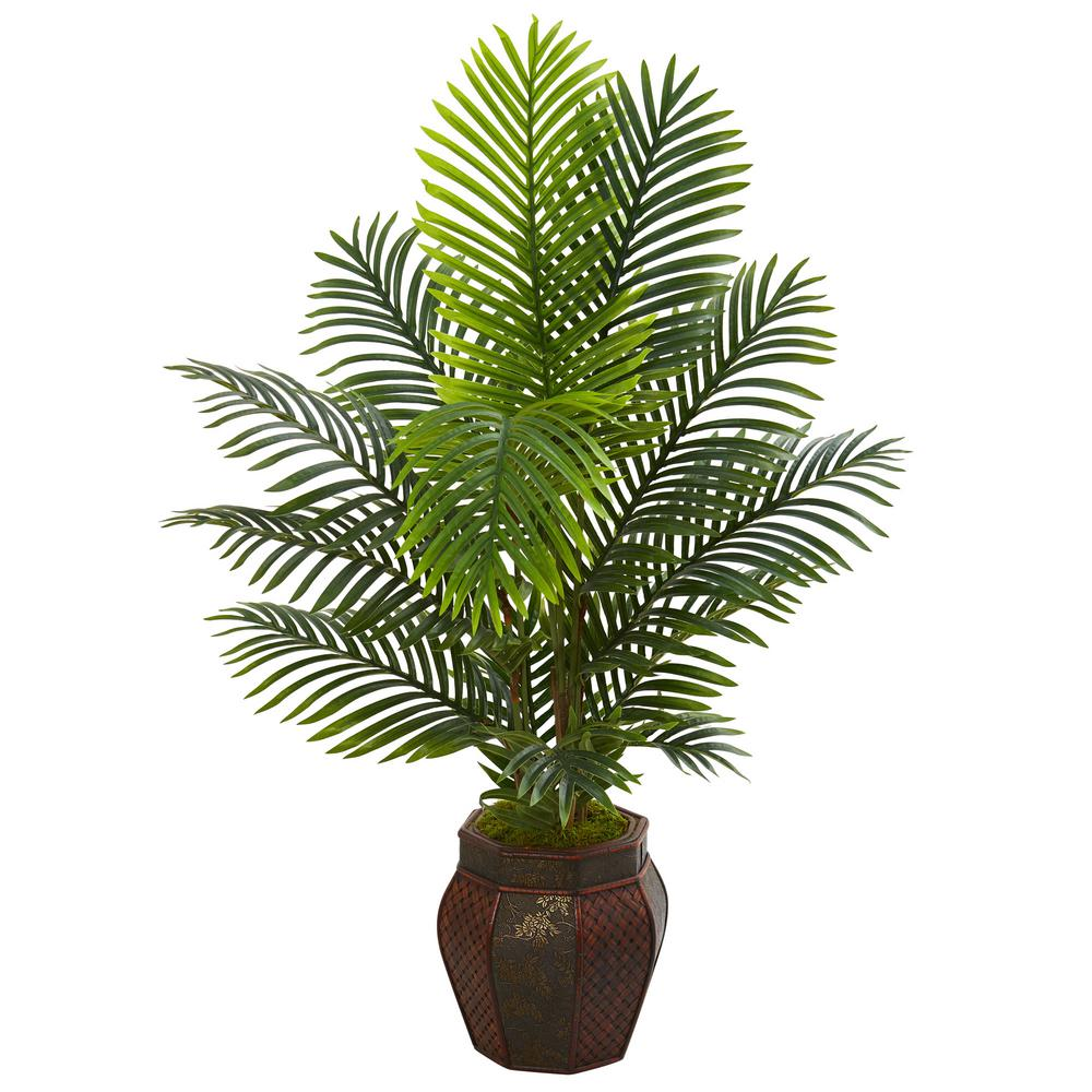 Indoor 4.5 ft. Paradise Palm Artificial Tree in Decorative Planter