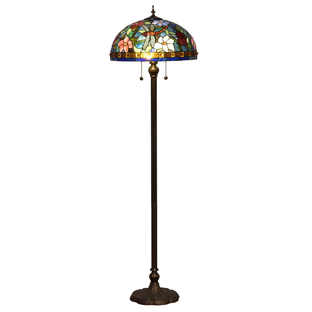 62 in. Josef Antique Bronze 2-Light Floor Lamp with Tiffany Art