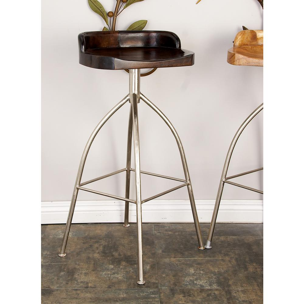 Silver metallic iron bar stool with brown wooden seat