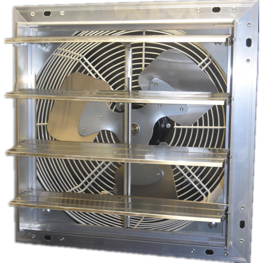 12 in. 900 CFM Power Shutter Mounted 3-Speed Exhaust Fan