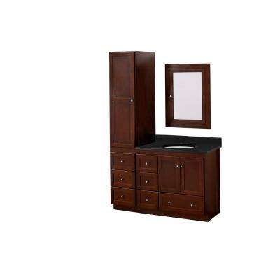 Vanity In Dark Cherry With Quartz Vanity Top In Black With White