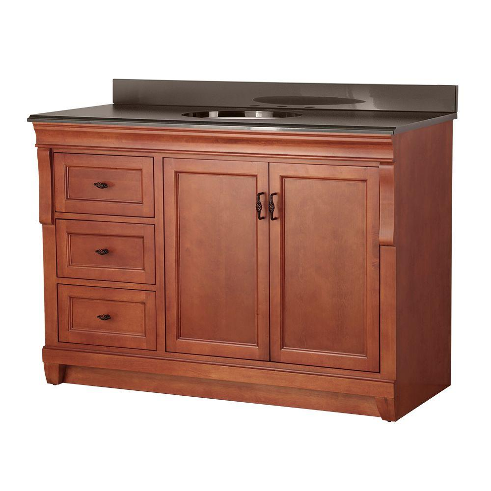 Home Decorators Collection Naples 49 in. W x 22 in. D Vanity in Warm Cinnamon with Left Drawers with Colorpoint Vanity Top in Black