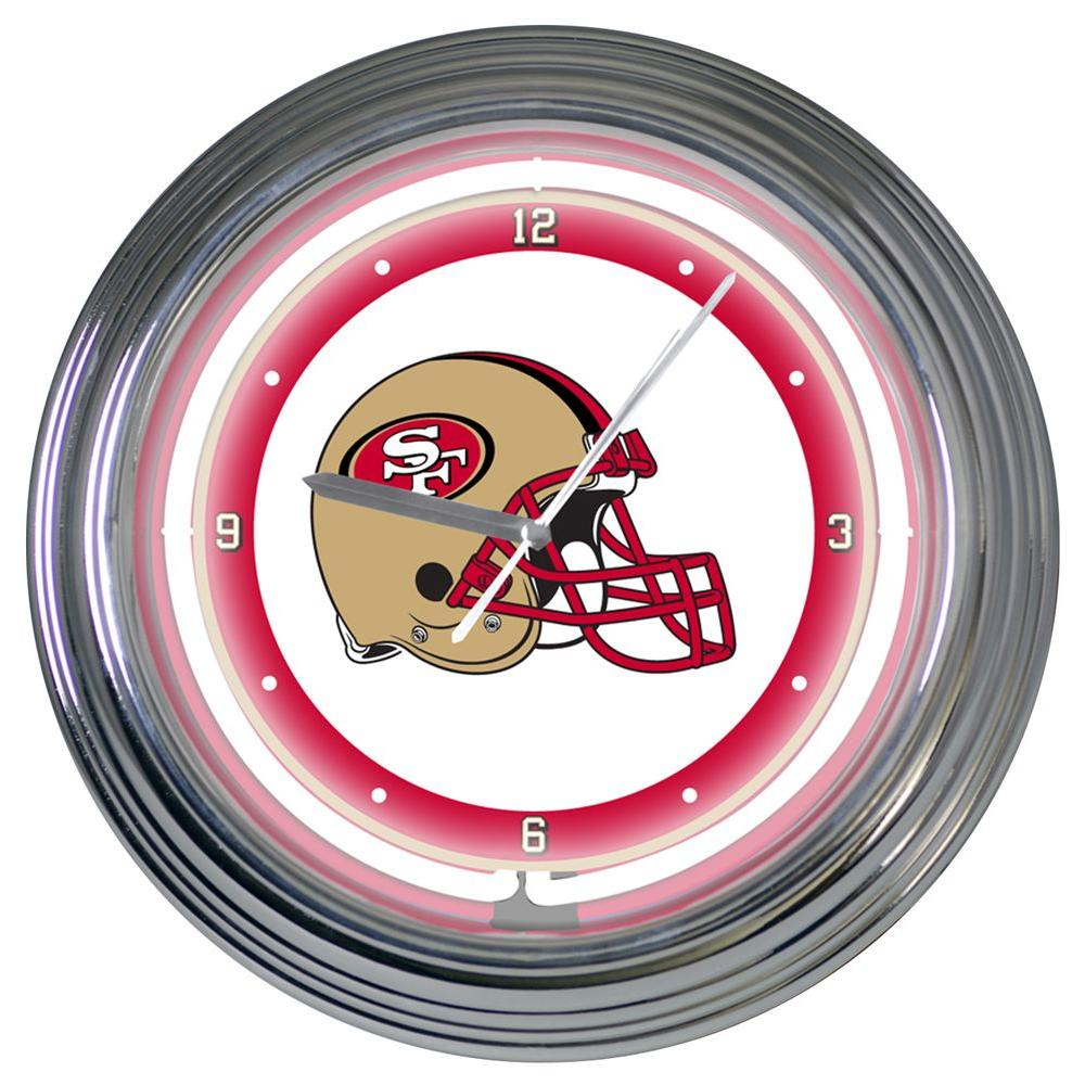 The Memory Company 15 in. NFL License San Francisco 49ers Neon Wall Clock-DISCONTINUED