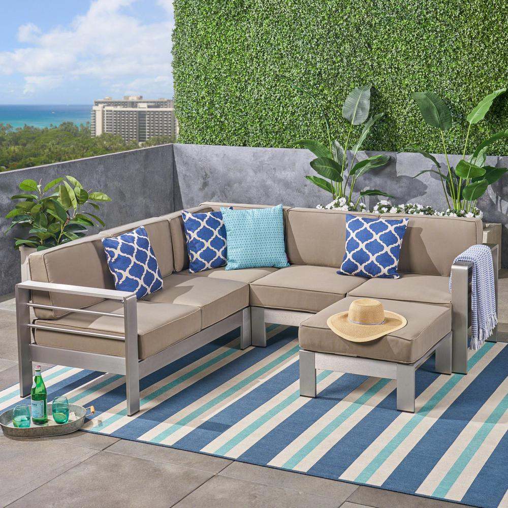 size 40 eee78 b548f Noble House Cape Coral Silver 5-Piece Aluminum V-Shape Outdoor Sectional  Sofa Set with Ottoman and Khaki Cushion