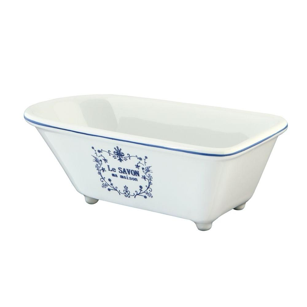 Le Savon Classic Claw Foot Tub Soap Dish in White-HBATUBRW - The ...