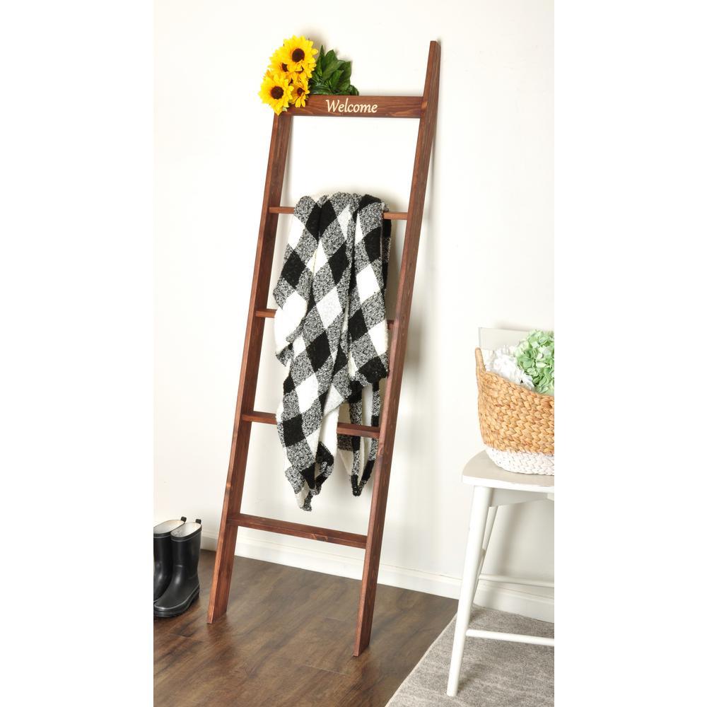 """Dark Walnut 72"""" Engraved Decorative Blanket Ladder Shelf"""