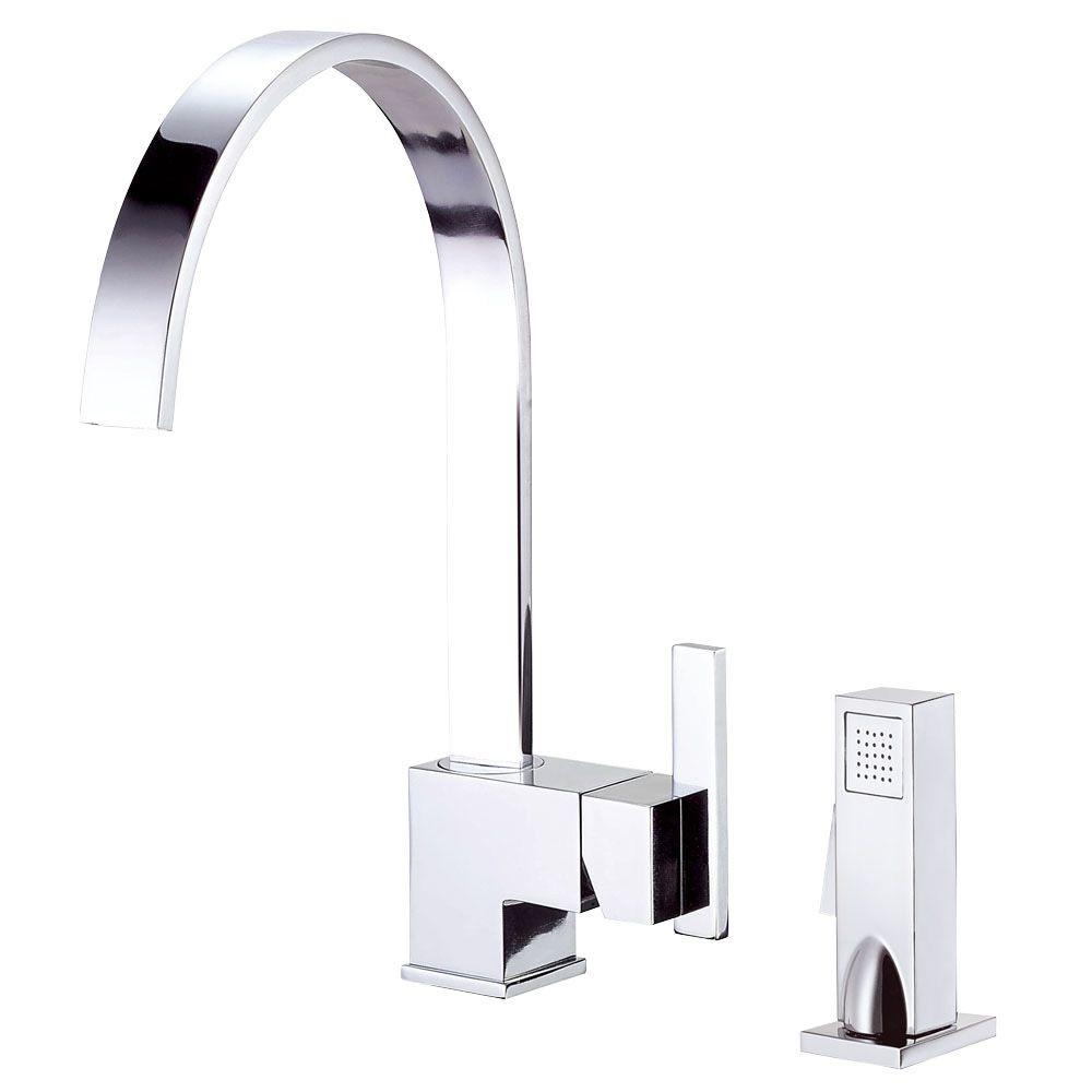 Sirius Single-Handle Standard Kitchen Faucet with Veggie Spray in Chrome