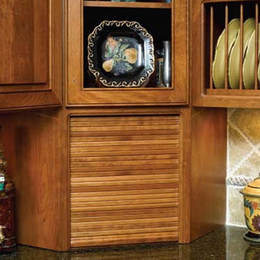 15 in. x 18 in. Red Oak Face Frame Veneer Tambour Door and Track Kit