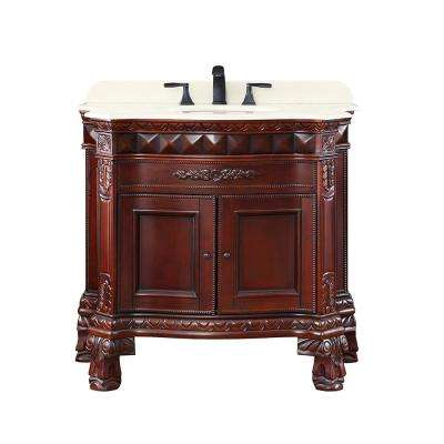 Covewood 36 in. W x 21 in. D Bath Vanity in Tobacco with Cultured Stone Vanity Top in Beige with White Basin