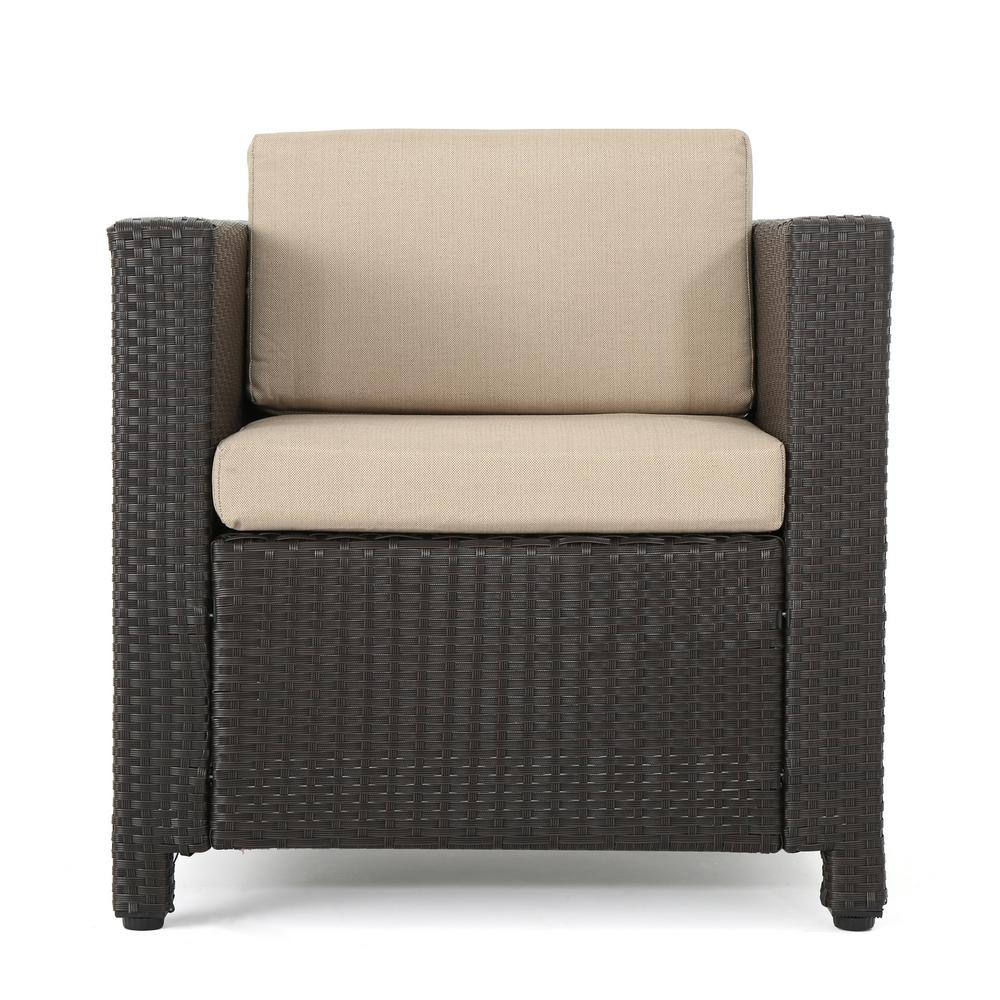 Pleasant Noble House Dark Brown Iron Framed Wicker Outdoor Lounge Chair With Beige Cushion Caraccident5 Cool Chair Designs And Ideas Caraccident5Info