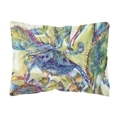 12 in. x 16 in. Multi Color Lumbar Outdoor Throw Pillow Crab All Over
