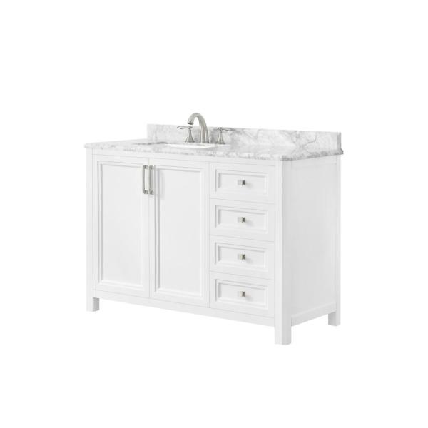 Sandon 48 in. W x 22 in. D Bath Vanity in White with Marble Vanity Top in Carrara White with White Basin