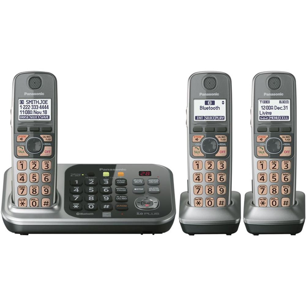 Panasonic DECT 6.0+ Cordless Phone with Digital Answering Machine and 3 Handsets-DISCONTINUED