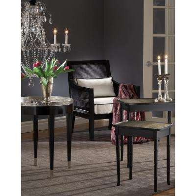 Black Tie Black and Silver Mirrored Top Side Table