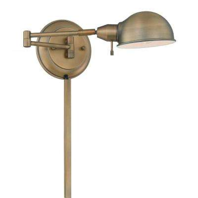 1-Light Antique Brass Swing Arm Wall Sconce