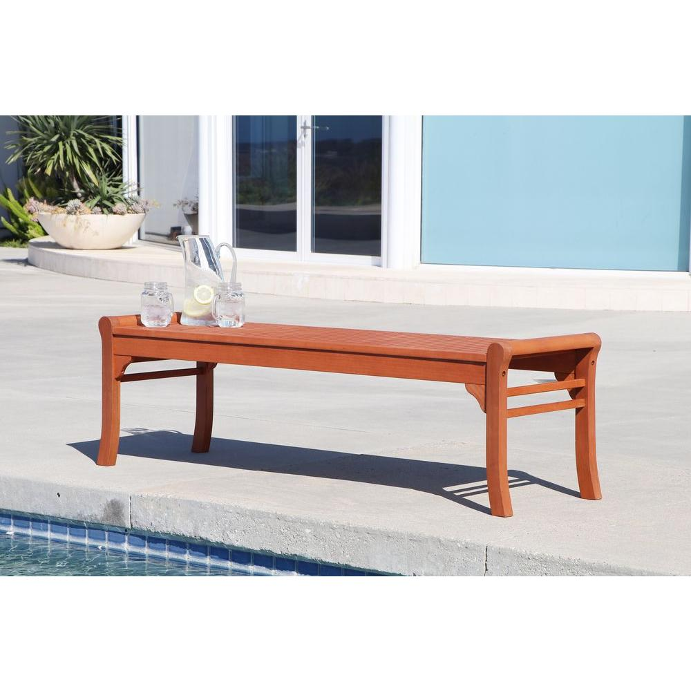 Null Eucalyptus Backless Wood Patio Bench