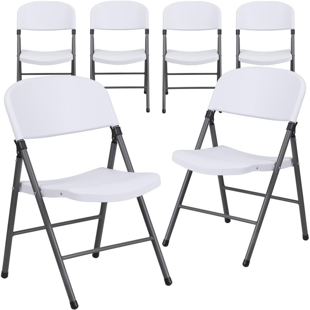Granite White Metal Folding Chair (6-Pack)