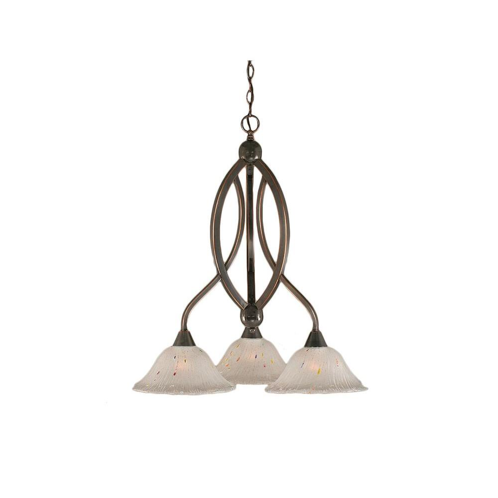 Concord 3-Light Black Copper Chandelier with Frosted Crystal Glass