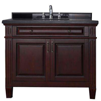 Carsen 42 in. Vanity in Chocolate with Granite Vanity Top in Black