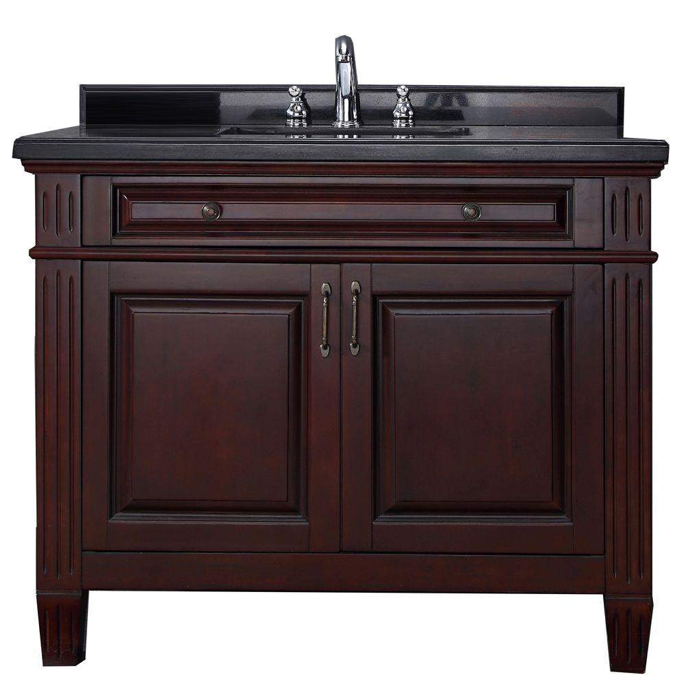 Carsen 42 In Vanity In Chocolate With Granite Vanity Top In Black