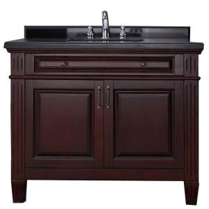 Carsen 42 in. Vanity in Chocolate with Granite Vanity Top ...