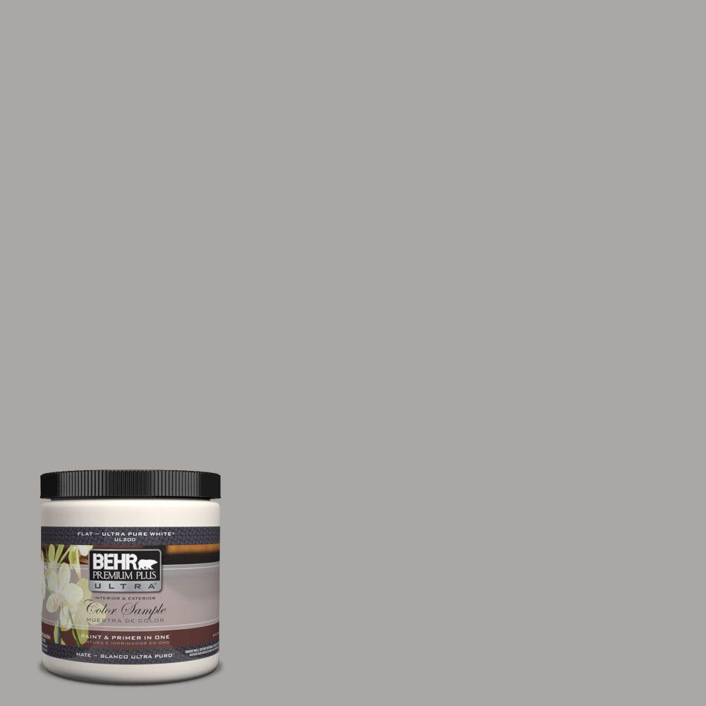 BEHR Premium Plus Ultra 8 oz. #UL260-7 Cathedral Gray Matte Interior/Exterior Paint and Primer in One Sample